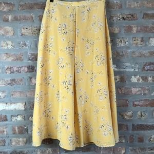 VTG Silk Maxi/Midi Skirt Fully Lined Yellow Floral